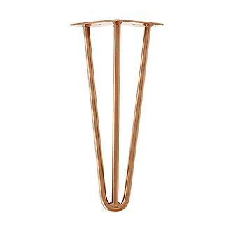 Koperen massieve 3-punt hairpin tafelpoot 35 cm
