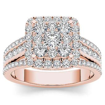 IGI Certified 14k Rose Gold 1.50 Ct Natural Diamond Halo Engagement Ring
