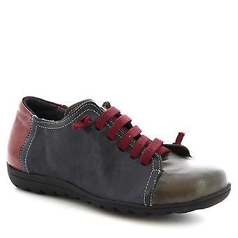 Leonardo Shoes Women's handmade lace-ups shoes in blue burgundy calf leather