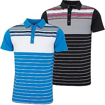 Bobby Jones Mens Rule 18 Tech Cove Stripe Tailored Golf Polo Shirt
