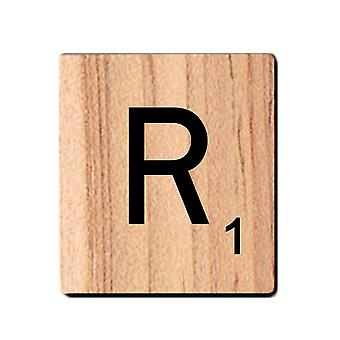 Mustat puiset Scrabble-kirjaimet, joissa on painettuja numeroita ja aakkoset-R