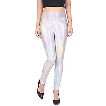 Hde vrouwen ' s glanzende holografische legging vloeibaar metallic, holografische, maat medium