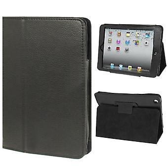 Para iPad Mini 1,2,3 Caso, Lychee Texture 2-fold Folio Leather Cover, Negro