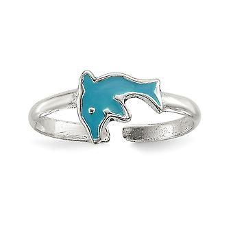 925 Sterling Silver Polished Enameled Dolphin Toe Ring Jewelry Gifts for Women - .9 Grams