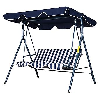 Outsunny 3-Seater Striped Swing Chair Metal A Frame Padded Adjustable Overhead Canopy Armrests Garden Chair Outdoors Weather-Resistant Blue White