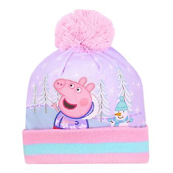 Peppa Pig Pom Pom Kids Winter Woolly Girls Pink Hat