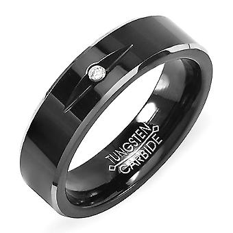 Coleção de rock deslumbrante Tungsten Carbide Unsex Ring Wedding Band 6MM Two Tone Black Plating Solitaire 1 Stone CZ Cubic Zirconia Comfort Fit