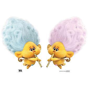 Cherub Blue and Pink Trolls Official Trolls World Tour Cardboard Cutout / Standee