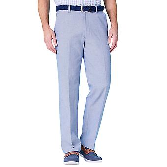 Mens Chambray Trouser With Hidden Stretch Waistband and Belt