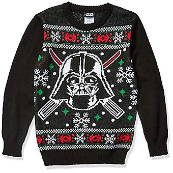 Star Wars Boys' Ugly Christmas Sweater, Vader/Black, X-Large (16)