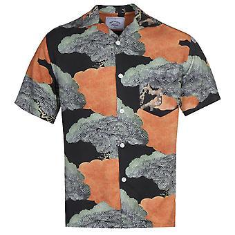 Portuguese Flannel Japanese Pine Pattern Green Short Sleeve Shirt