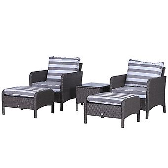 Outsunny 5 Pcs PE Rattan Garden Furniture Set, 2 Armchairs 2 Stools Glass Top Table Cushions Wicker Weave Chairs Outdoor Seating