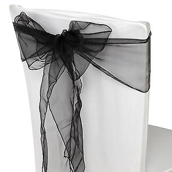 17cm x 274cm Organza Table Runners Wider & Fuller Sashes Black