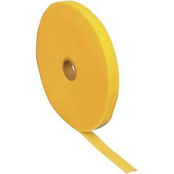 FASTECH® T0601002081125 Krok-och-slinga tejp för buntning Krok och slinga pad (L x W) 25000 mm x 10 mm Gul 25 m