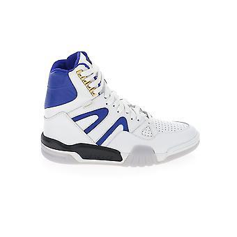 Versace Dsu7463d0vtgdw7oh Uomini's Bianco/blu Pelle Hi Top Sneakers