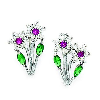 14k White Gold Green et Red CZ Cubic Zirconia Simulated Diamond 2 Flowers And Leaf Leverback Earrings Measures 15x12mm