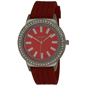 Henley Glamour Red Silicone Strap Watch with Diamante Crystals H0838.10