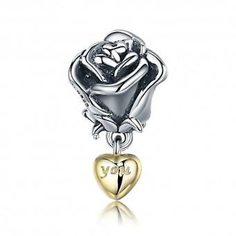 Sterling Sølv Vedhæng Charm Rose Med 'you' In A Golden Heart - 5952