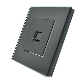 I LumoS Luxury Black Crystal Glass Frame BT RJ11 Telephone Wall Single Socket