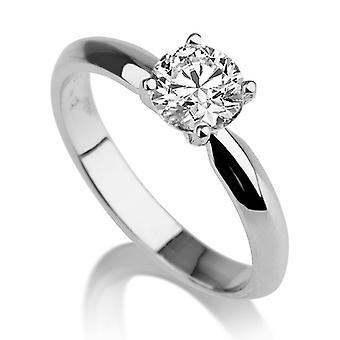 Schöne 1,00 ct weiß Saphir-Ring Weissgold 14K einzigartig