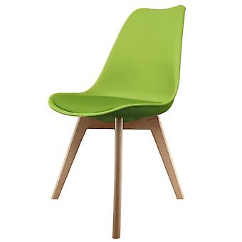 Fusion Living Eiffel Inspired Green Plastic Dining Chair With Squared Light Wood Legs