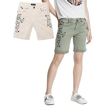 Desigual Virtu Slim Fit Embroidered Long Denim Shorts