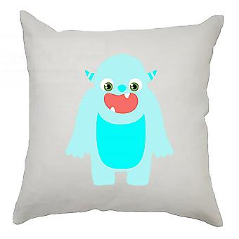 Monster Cushion Cover 40cm x 40cm - Aqua Monster With Horns