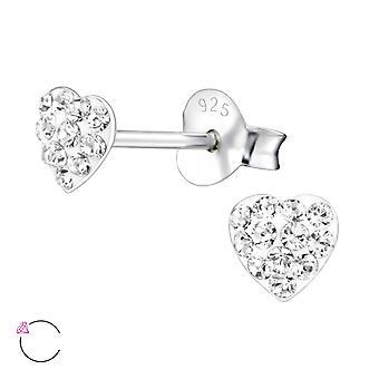 Hjärta - 925 Sterling Silver Crystal öra dubbar - W24692x