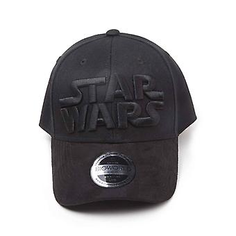 Star Wars Baseball Cap Black On Black Logo Official Black Curved Bill Snapback
