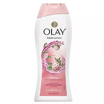 Olay fresh outlast body wash, cooling white strawberry & mint, 22 oz