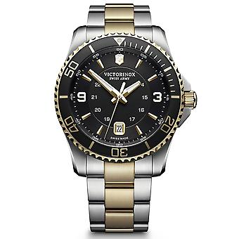 Victorinox Swiss Army Maverick Black Dial Silver and Gold Stainless Steel Bracelet Men's Watch 241824 RRP £460