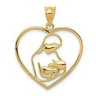 14k Jaune Or Poli Mère et Enfant Dans Love Heart Pendentif Collier - 1.2 Grammes