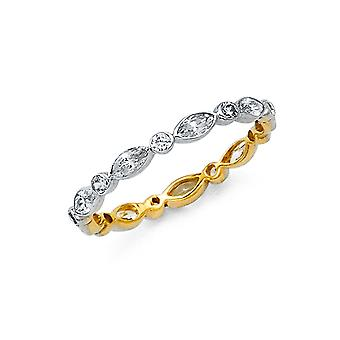14k Gold Two tone CZ Cubic Zirconia Simulated Diamond Marquis and Round Eternity Band Ring Jewelry Gifts for Women - Rin