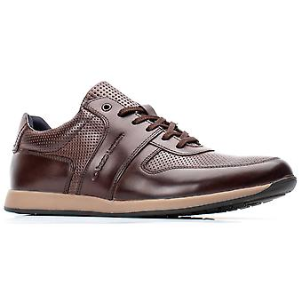 Basis Londen Mens Dakota Burnished Lace Up Trainer Brown