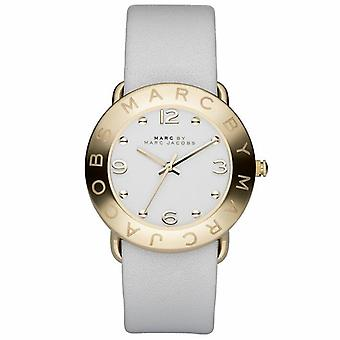 Marc Jacobs MBM1150 Amy White Dial Or-tone White Leather Ladies Watch