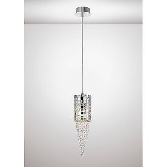 Camden Pendentif Light Single 1 Ampoule G9 Chrome Poli / Mosaïque Verre / Cristal
