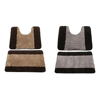 2 Piece Striped Two Tone Bath Mat And Pedestal Mat Set