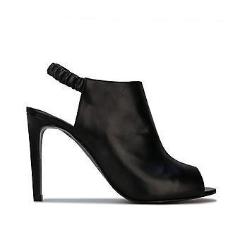 Women's Karen Millen Ella High Leather Peeptoe Shoes in Black
