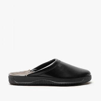Rohde 2772 Mens Leather Mule Wide Fit Slippers Black