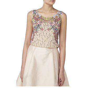 Camiseta de la tapa bordada floral