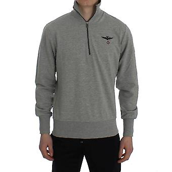 Aeronautica Militare Gray Cotton Stretch Korean Neck Sweater