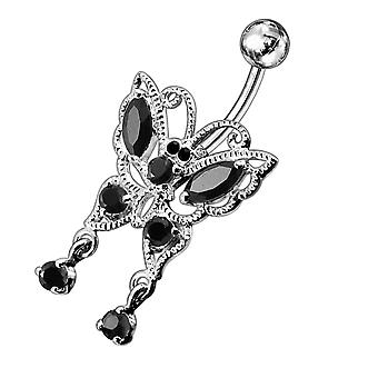 14G Jeweled Moving Butterfly Navel Ring