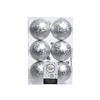6 Frosted Silver 8cm Shatterproof Christmas Tree Bauble Decorations