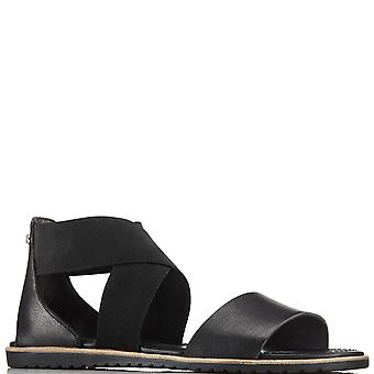 Womens Sorel Ella Sandal Beach Holiday Open Toe Cut Out Fashion Sandals  - Black - 5