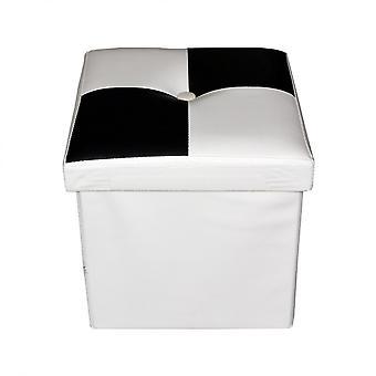 Rebecca Møbler Puff Container Sort Hvid Polstret Moderne 30x30x30