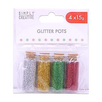 Enkelt Creative Glitter Krukor (4st) (SCGLT001X19)