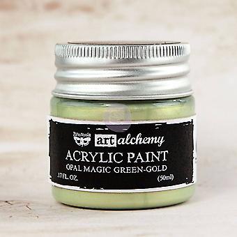 Finnabair Art Alchemy Acrylic Paint Opal Magic Green-Gold