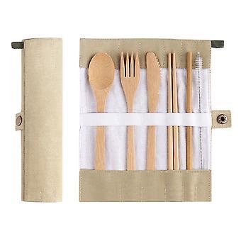 7-delt bambus skjeer verktøy liten (Khaki)