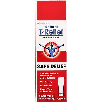 MediNatura, Natural T-Relief, Safe Relief, Pain Relief Cream, 4 oz (114 g)