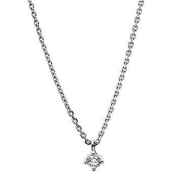 Diamant Collier Collier-14K 585/-witgoud-0,07 CT.